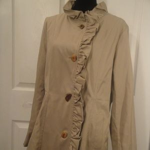 Betsey Johnson Trench Coat Ruffle Detils sz L?